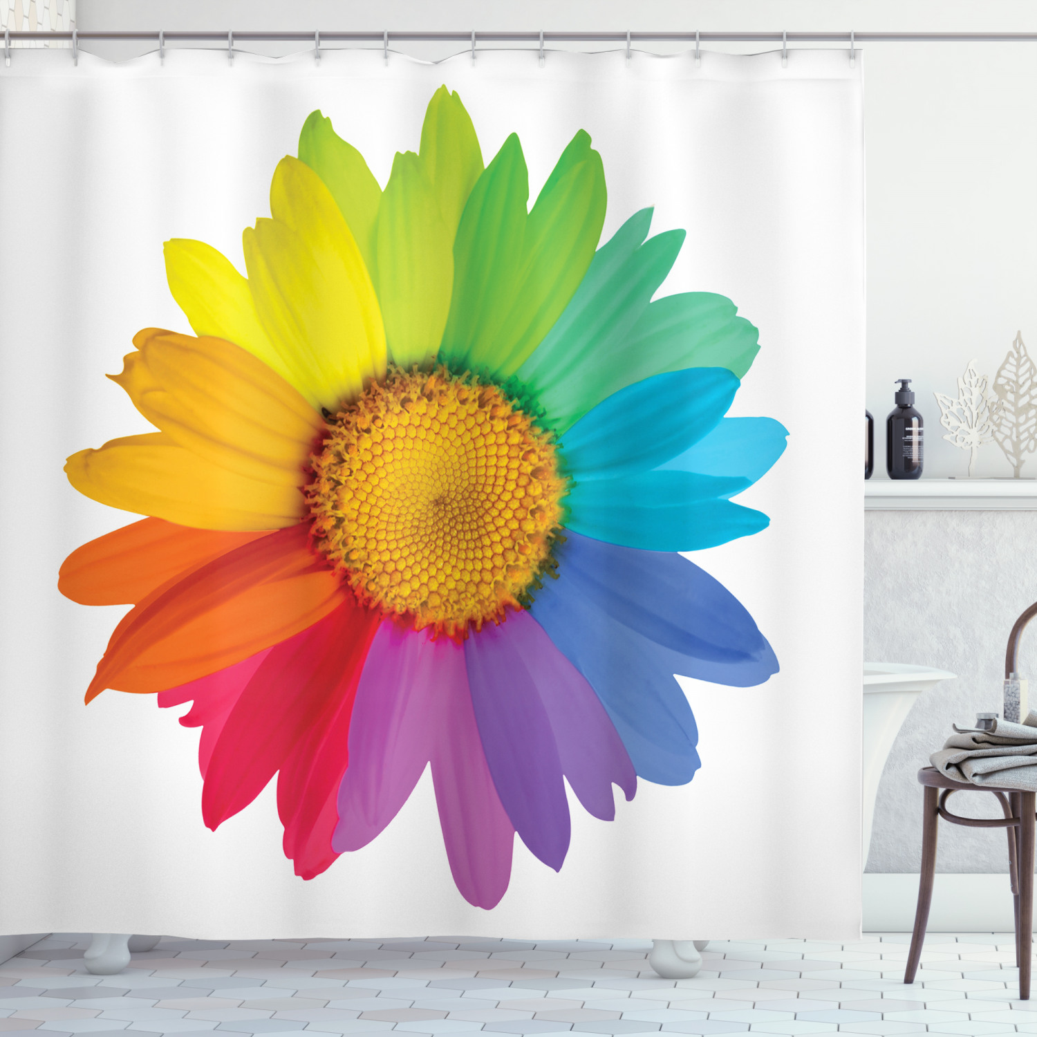 flower shower curtain rainbow colored sunflower or daisy spring inspired image hippie style modern design fabric bathroom set with hooks