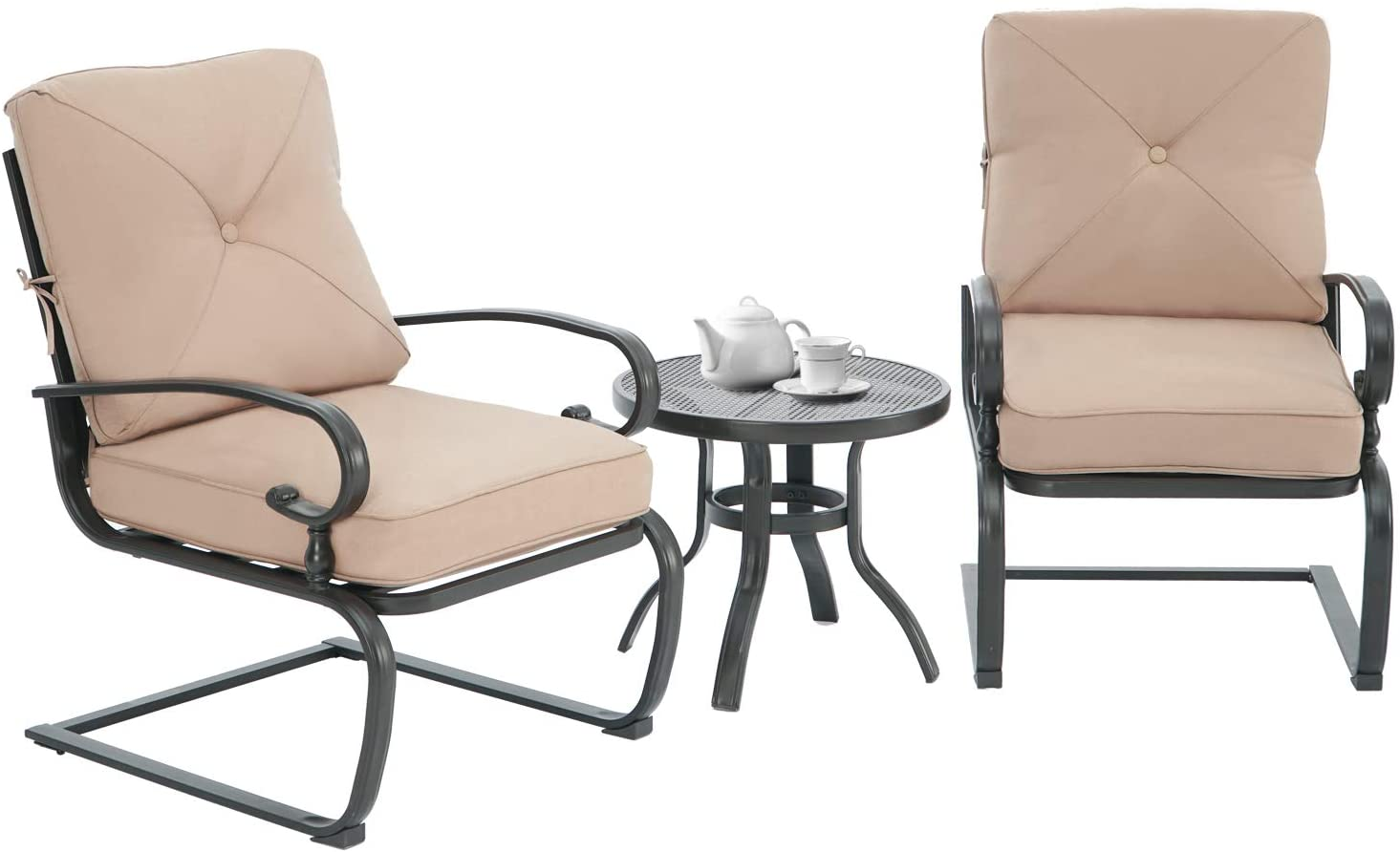 rocking patio chairs outdoor metal furniture motion spring patio chair black metal dining bistro set with padded cushion for porch garden balcony