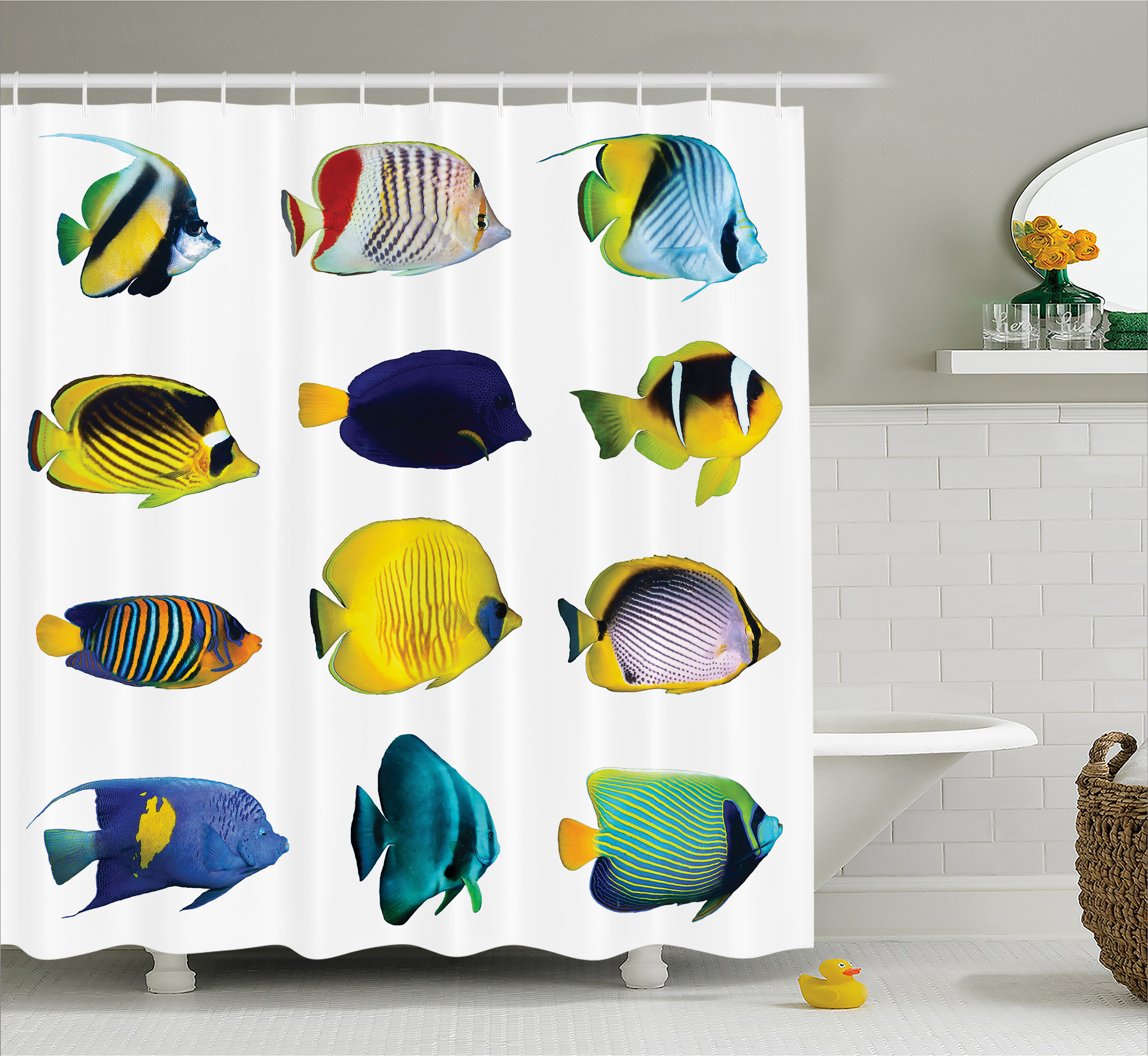 Nemo Bathroom Set Aqua Shower Curtain Tropical Fish Animal Figures With Zebrasoma Anemonefish Dive Nemo Aquatic Life Theme Fabric Bathroom Set With Hooks Multicolor
