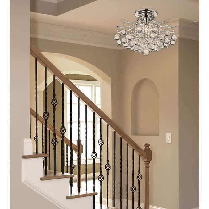 lighting by pecaso contour flush mount chrome chandelier