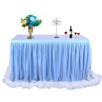 Threaded Ribbon Table Skirt with Tulle Elegant Party ...