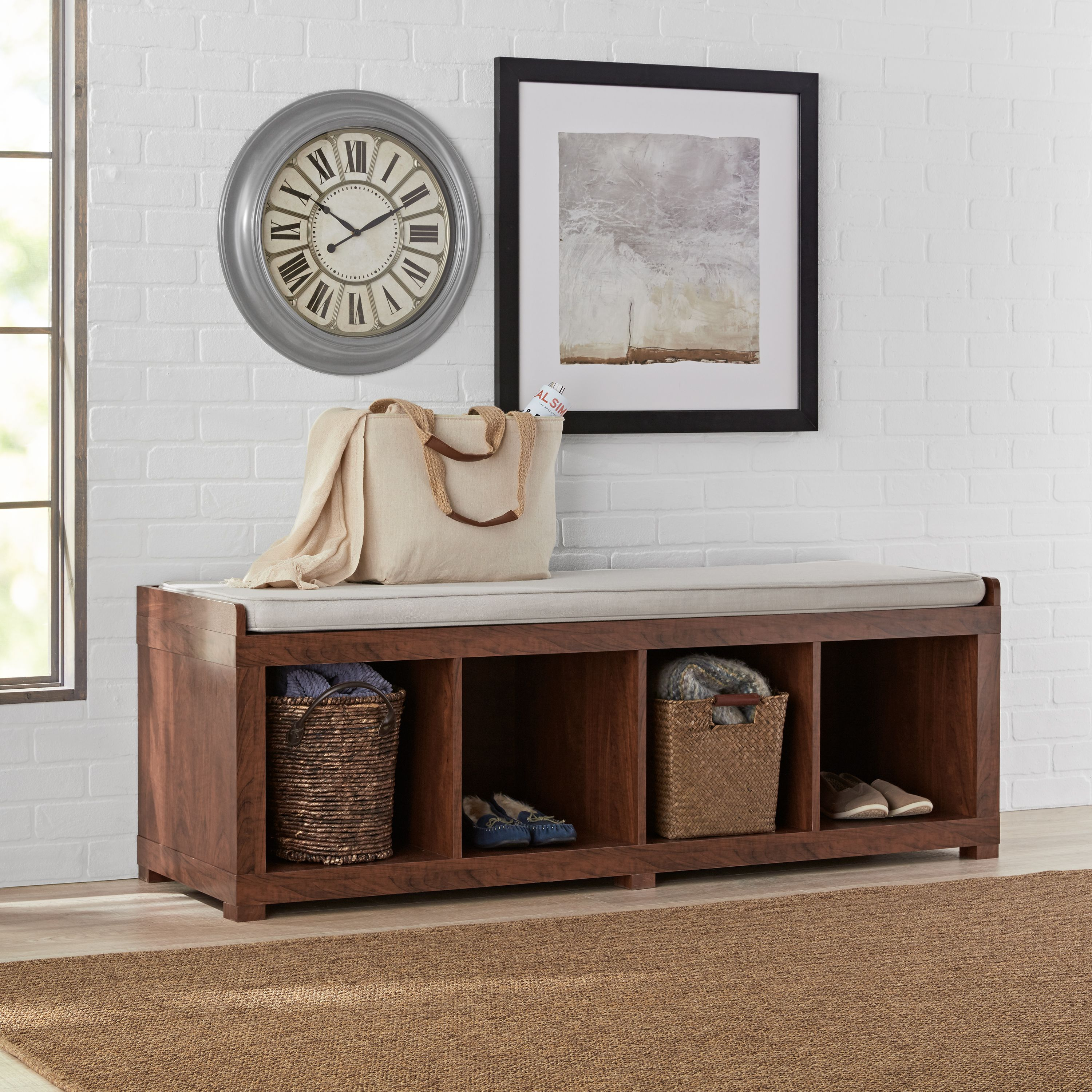 better homes and gardens 4 cube organizer storage bench multiple finishes