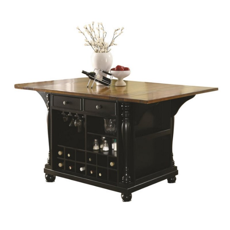two tone kitchen island design a coaster carts with drop leaves walmart com