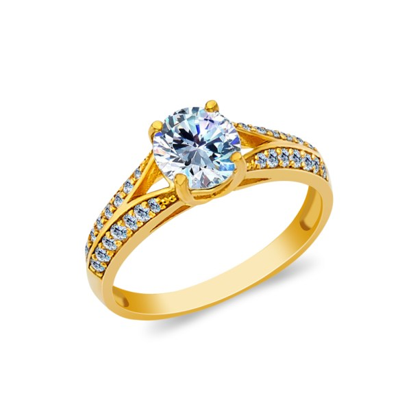 Ioka - 14k Yellow Solid Gold 1.25 Ct. Cut Cubic Zirconia Cz Wedding Engagement Ring Size