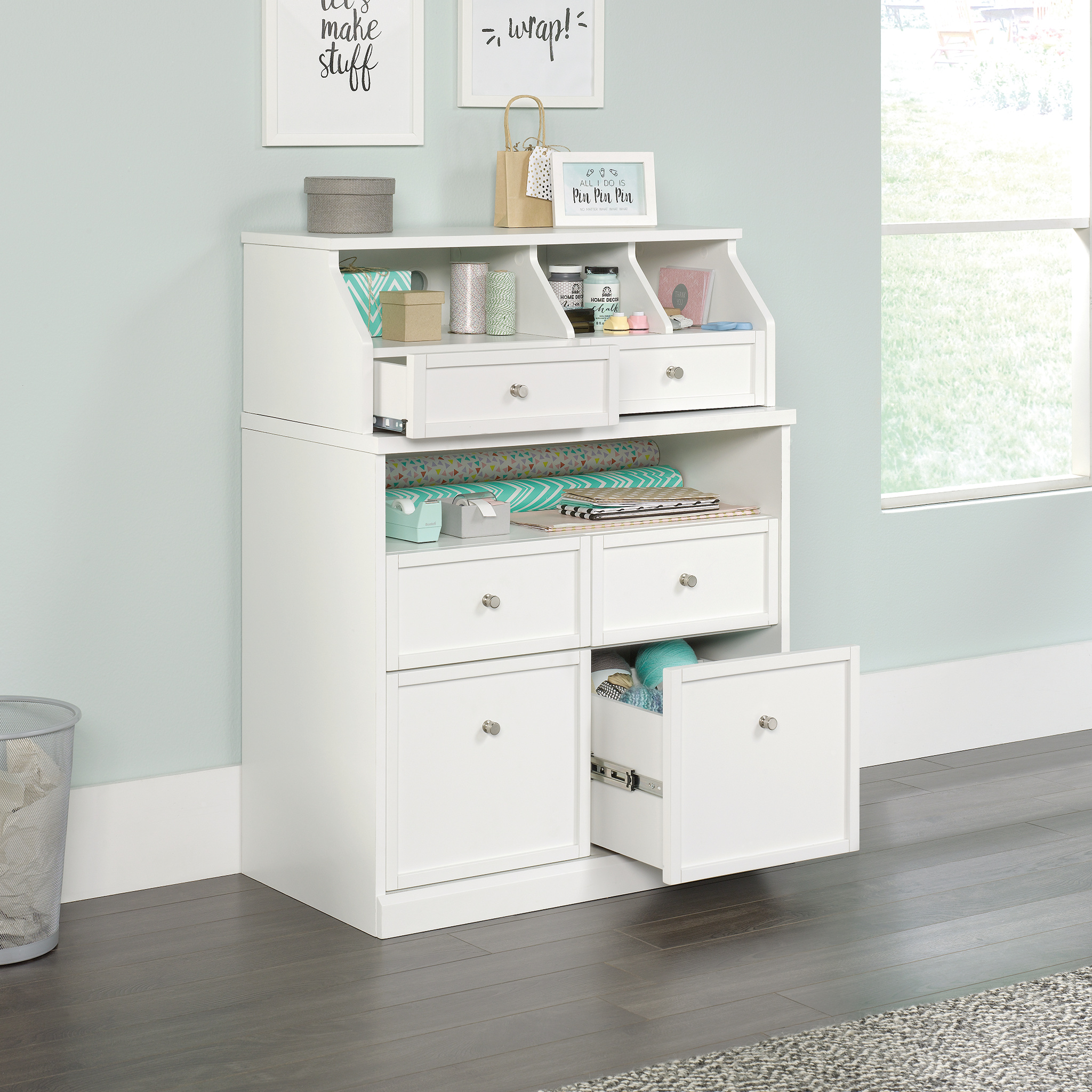 Better Homes Gardens Craftform Sewing And Craft Storage Cabinet With Drawers And Storage Hutch Walmart Com Walmart Com