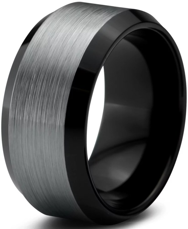 Charming Jewelers - Tungsten Wedding Band Ring 10mm Men Women Comfort Fit Black Beveled Edge