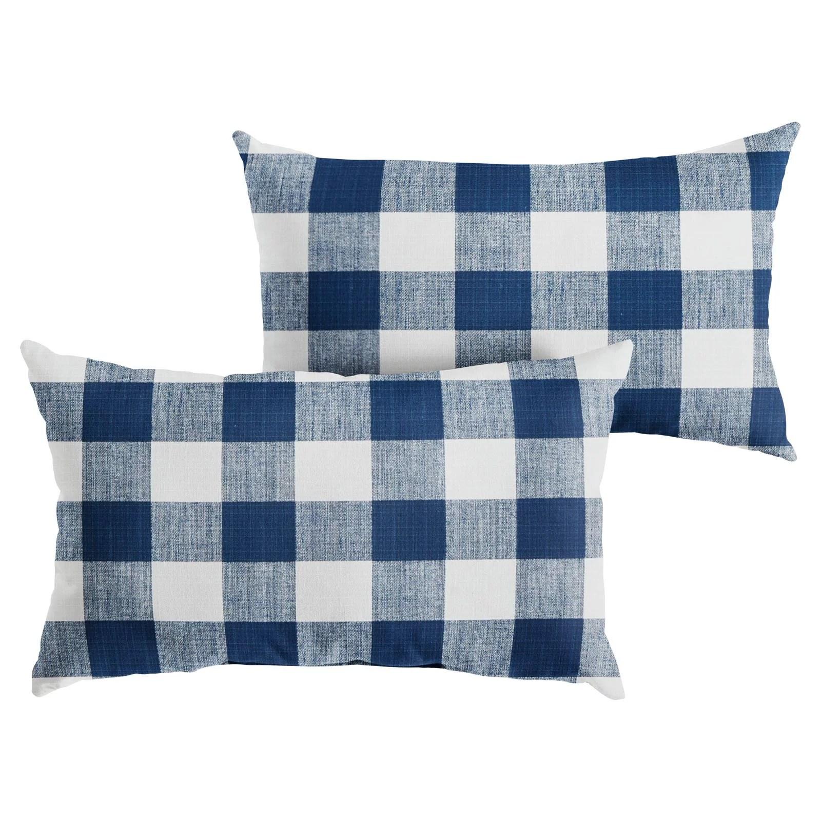 mozaic company buffalo plaid indoor outdoor lumbar throw pillow