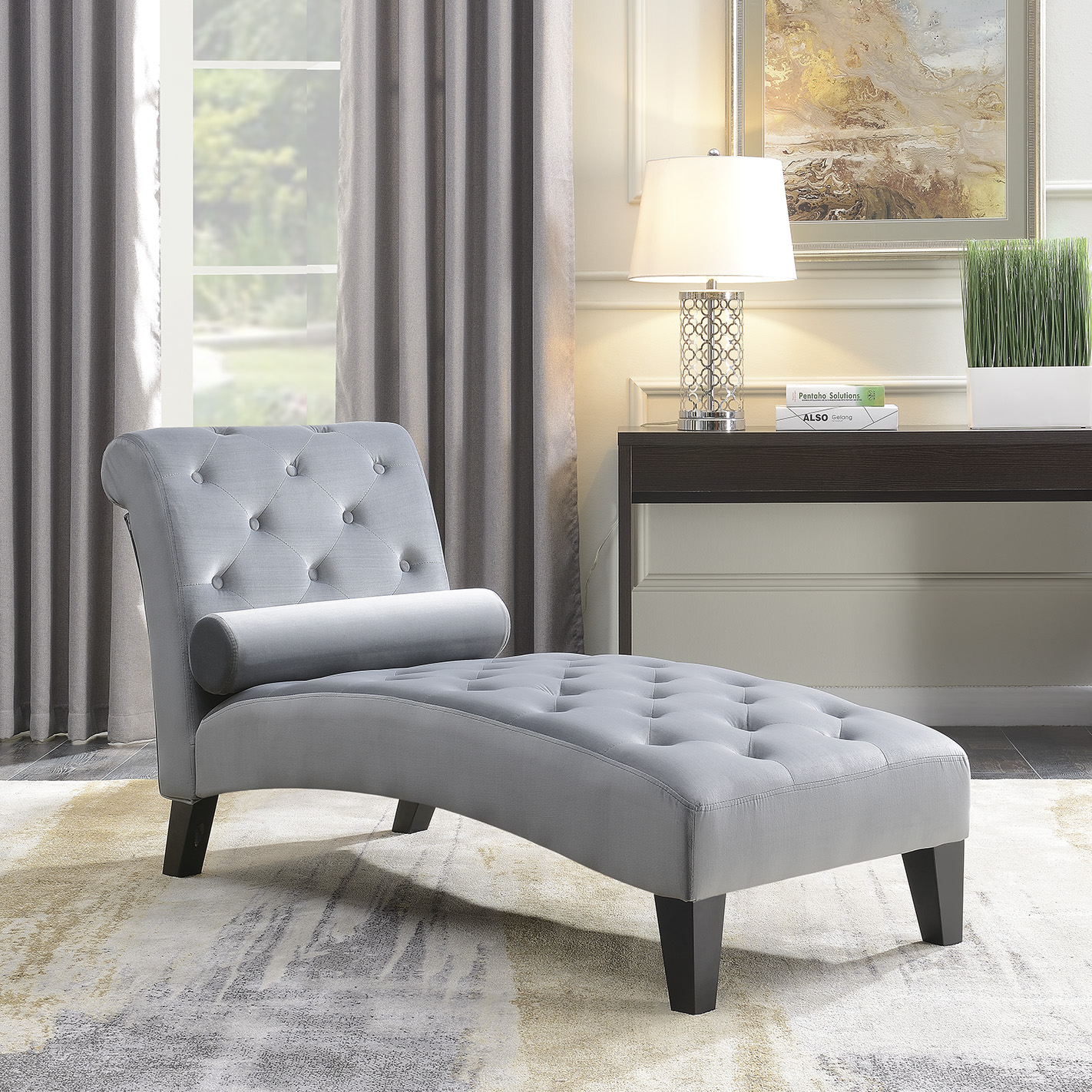 chaise lounges for living room cheap decorating ideas walmart com product image belleze or home office button tufted leisure chair rest sofa lounge couch
