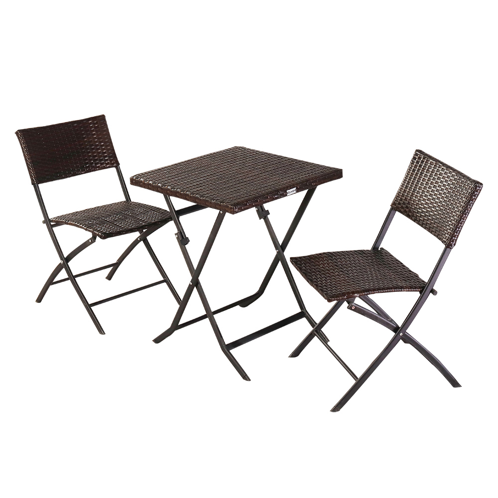 outdoor patio furniture sets 3 piece brown wicker patio bar set set of 2 folding chairs and dining table outdoor conversation sets dining set for