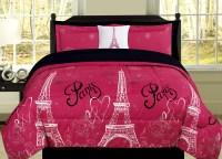 Full Paris Comforter Pink Black White Eiffel Tower Bedding ...