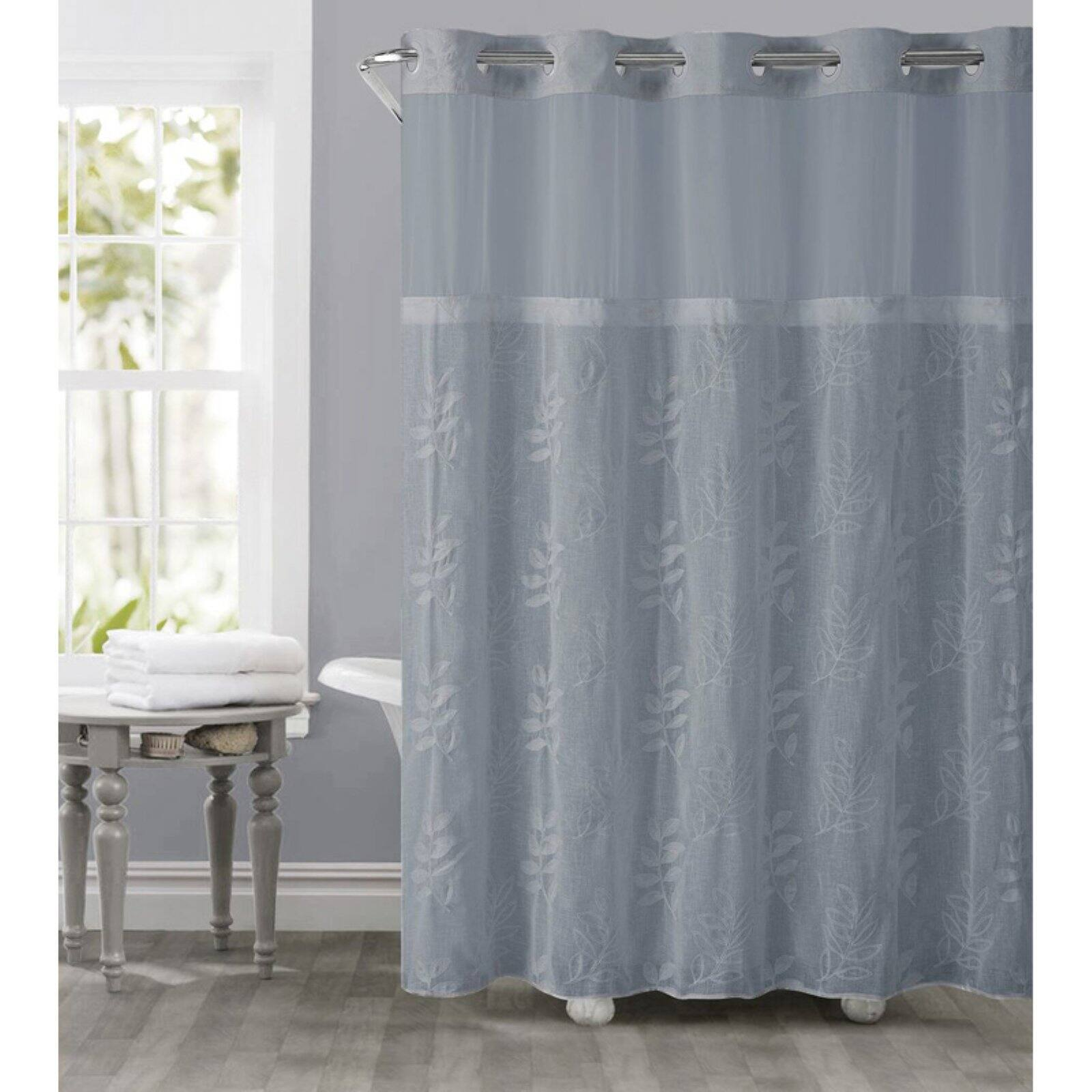 hookless dusty blue palm leaves polyester shower curtain walmart com