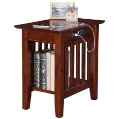 Chair Side Tables Canada Armchair Sleeves Atlantic Furniture Mission Charger Table In Walnut Image 2 Of 5