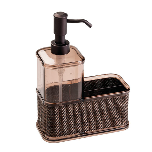 kitchen soap caddy cart with wheels interdesign twillo dispenser pump sponge and scrubby organizer bronze walmart com