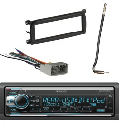 kenwood in dash am fm cd mp3 car stereo receiver bluetooth with metra dash kit for chry dodge jeep 98 up metra chrysler 2002 antenna adapter cable metra  [ 1500 x 1500 Pixel ]