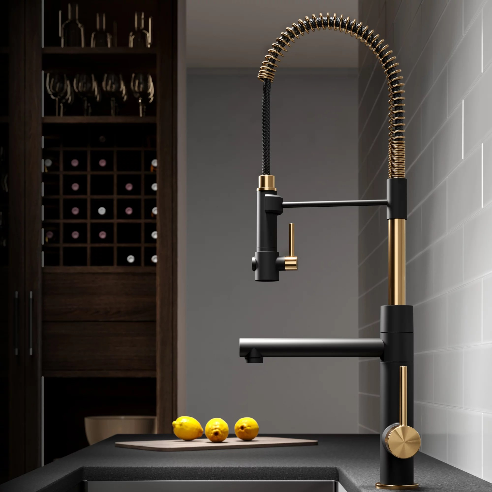 kraus artec pro 2 function commercial style pre rinse kitchen faucet with pull down spring spout and pot filler brushed gold matte black finish