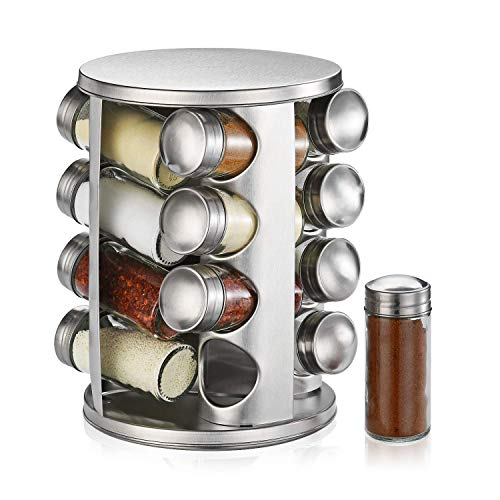 defway revolving countertop spice rack stainless steel spice organizer with 16 seasoning jars large standing cabinet seasoning tower for kitchen