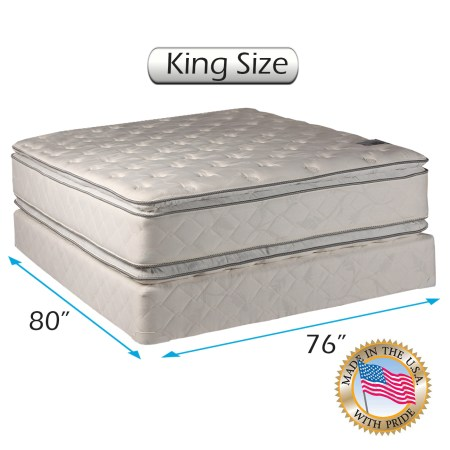 Dream Solutions Pillow Top Mattress And Box Spring Set King Double Sided Sleep