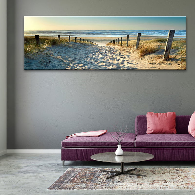 Canvas Wall Art Seascape Beach Painting Print Big Modern Picture Unframed For Living Room Bedroom And Office 59 X 20 Walmart Canada