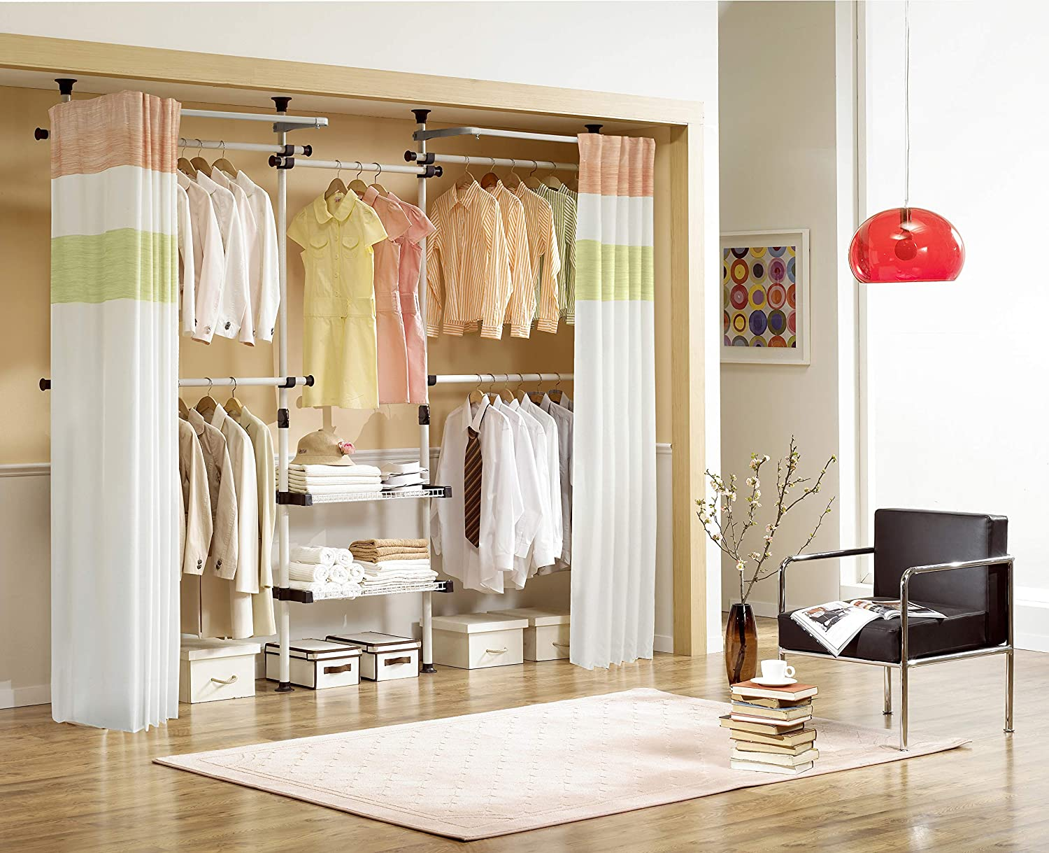 prince hanger deluxe 4tier shelf hanger with curtain clothing rack heavy duty