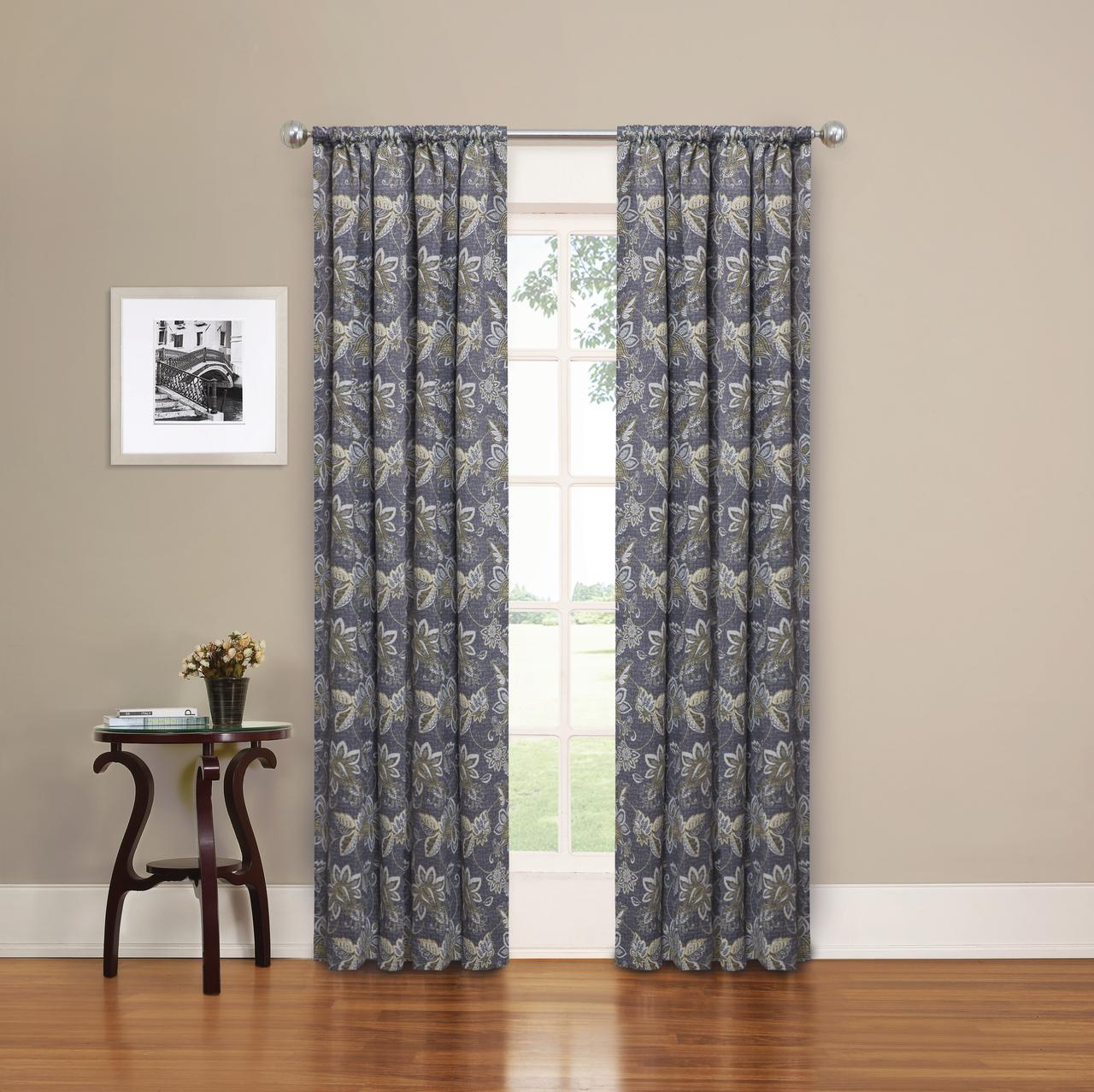 eclipse phoenix jacobean blackout panel pair window curtains 37 x 84 gray