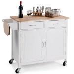 Rolling Kitchen Cart Island Wood Top Storage Trolley Cabinet Utility Walmart Canada