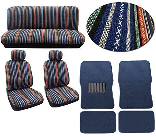 Baja Blue 12pc Car Seat Cover Set Striped Saddle Blanket