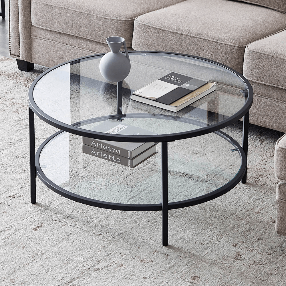 uhomepro round glass coffee table modern cocktail table with tempered glass top metal frame end table for living room sofa side round coffee table
