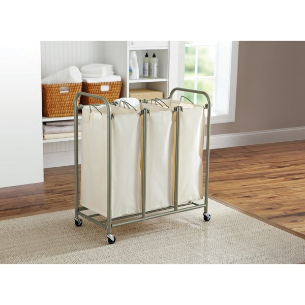 Homes And Gardens 3 Bag Laundry Sorter Brown Ivory