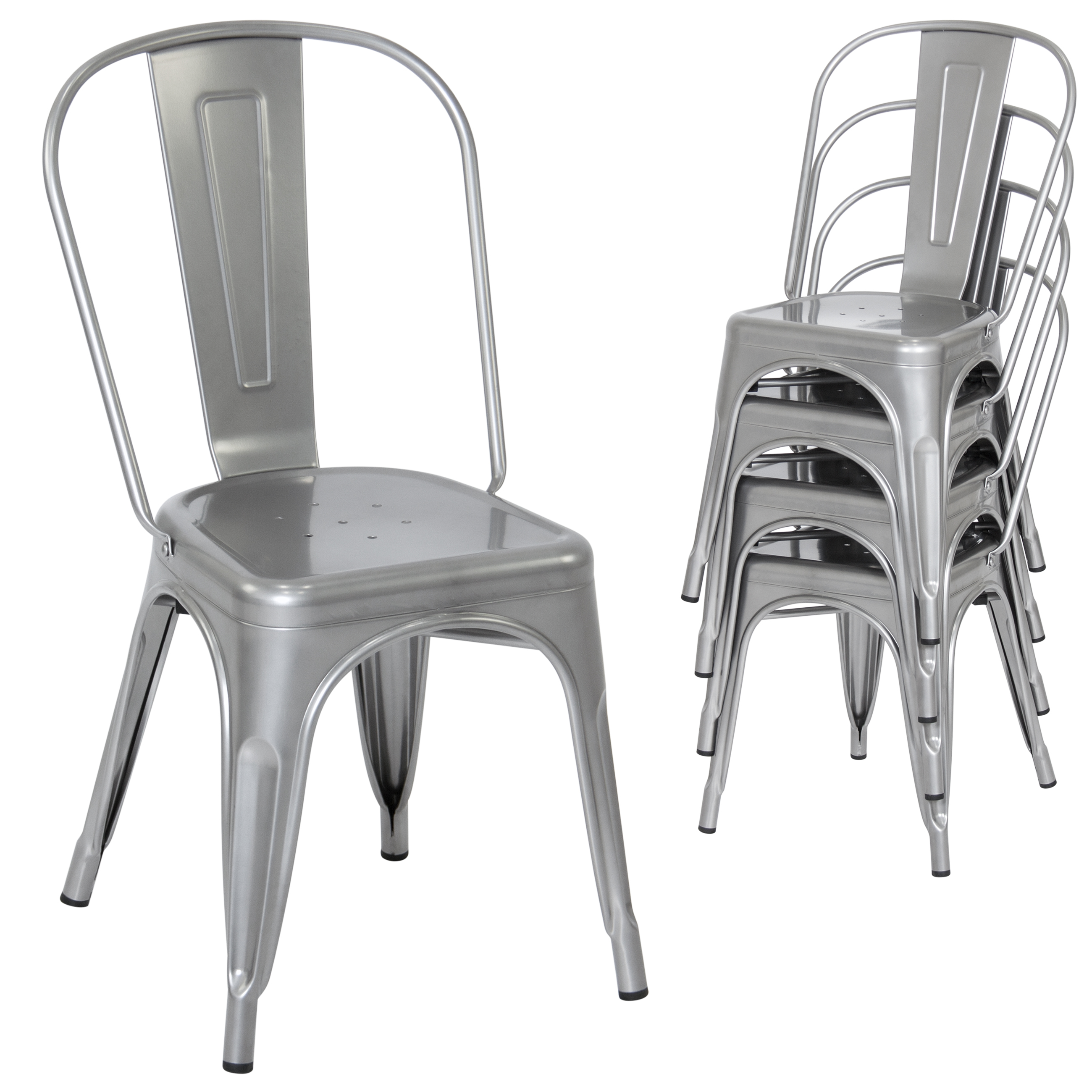 metal stacking chairs outdoor antique windsor chair best choice products set of 4 modern industrial dining silver walmart com