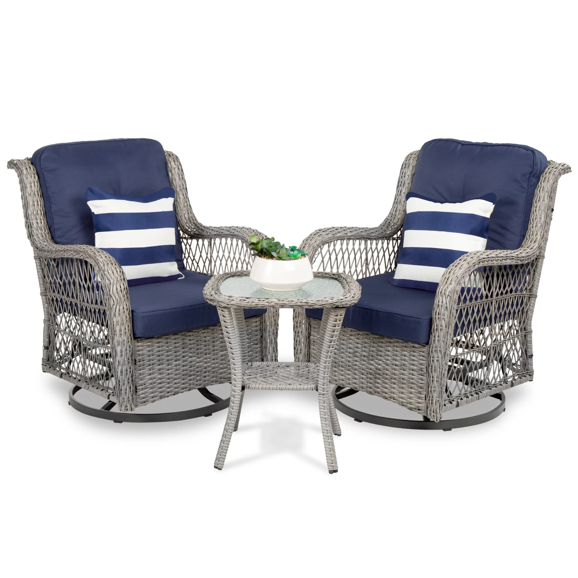best choice products 3 piece patio wicker bistro furniture set w 2 cushioned swivel rocking chairs side table navy