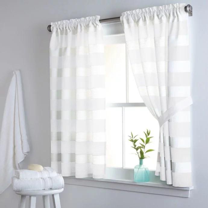 dkny highline stripe 38 inch x 45 inch cotton window curtain panel pair in white walmart com