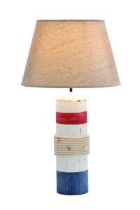 Benzara Stylish White Wooden Buoy Table Lamp with Red and ...
