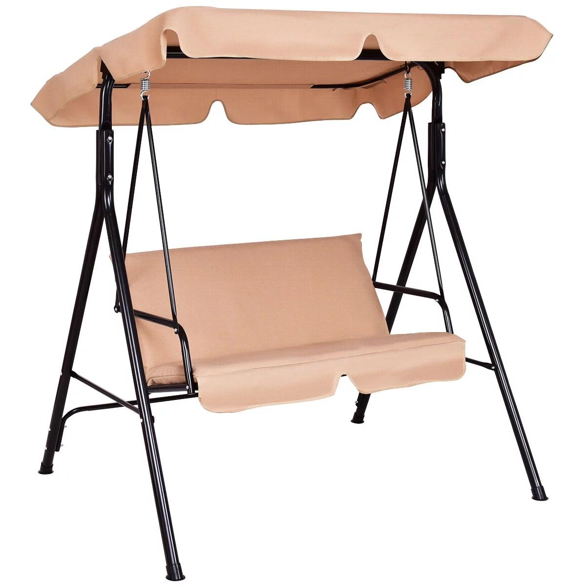 costway loveseat patio canopy swing glider hammock cushioned steel frame outdoor