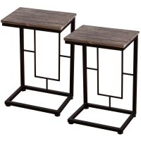 Costway 2PCS 21.7'' Solid Antique Wood Coffee Tray Side ...