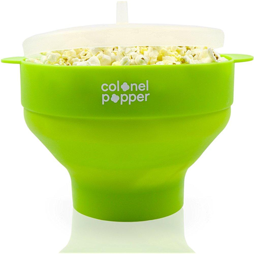 colonel popper microwave popcorn popper healthy silicone popcorn maker collapsible bowl green