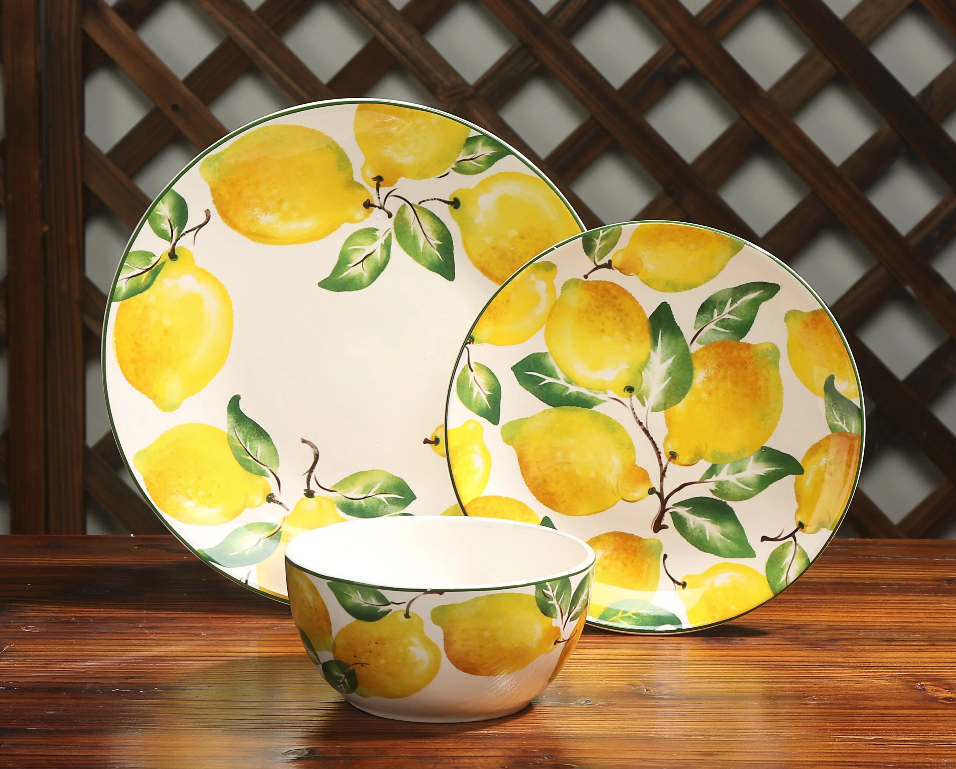 Mainstays Lemon Print 12 Piece Dinnerware Set