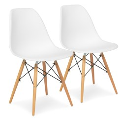 White Plastic Dining Chairs Desk Chair Teenager Best Choice Products Set Of 2 Eames Style Mid Century Modern Molded Shell Arm Walmart Com