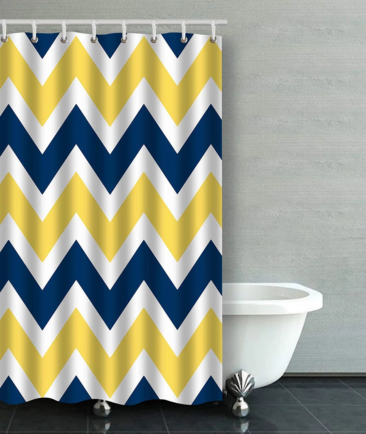artjia navy blue and yellow chevron zigzag pattern bathroom shower curtain 48x72 inches