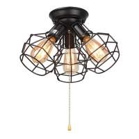 LNC Wire Cage Ceiling Lights 3-light Pull String Flush ...