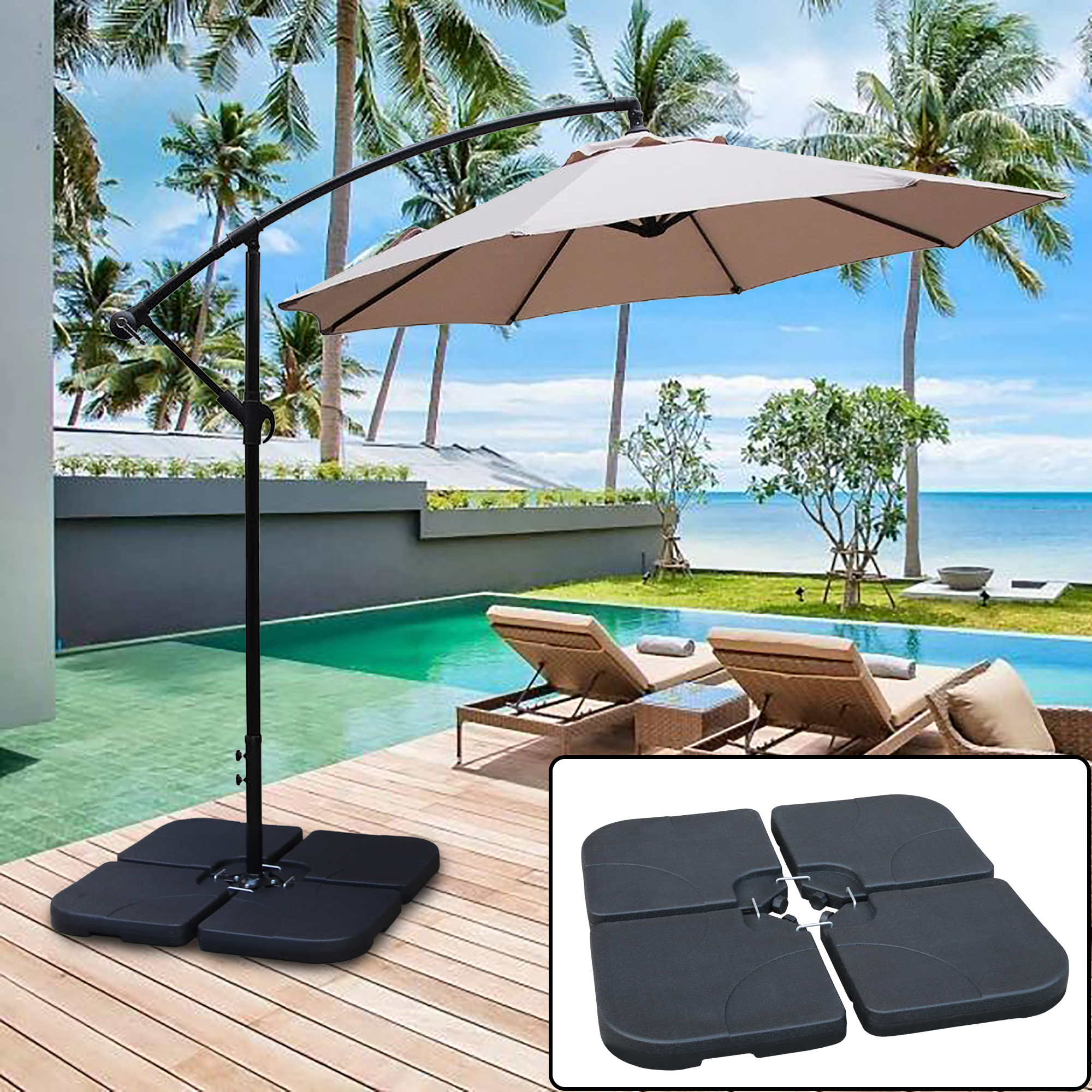 abble 130 lbs capacity weighted cantilever and offset patio umbrella base in black 4 piece walmart com