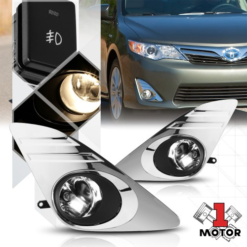 small resolution of clear fog light bumper lamp w switch harness chrome bezel for 12 14 toyota camry 13 walmart com