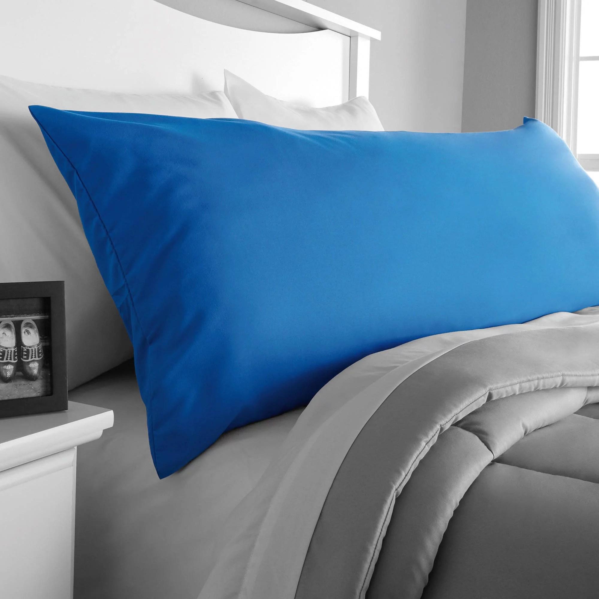 mainstays microfiber 20 x 52 blue body pillow cover 1 each walmart com