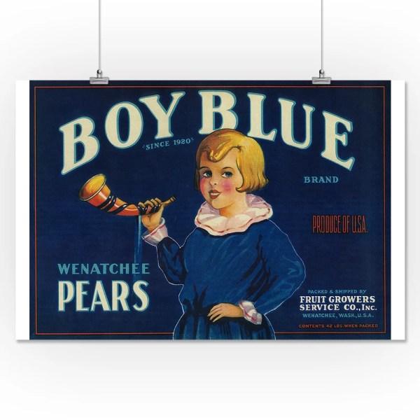 Boy Blue Pear Crate Label 16x24 Giclee Print