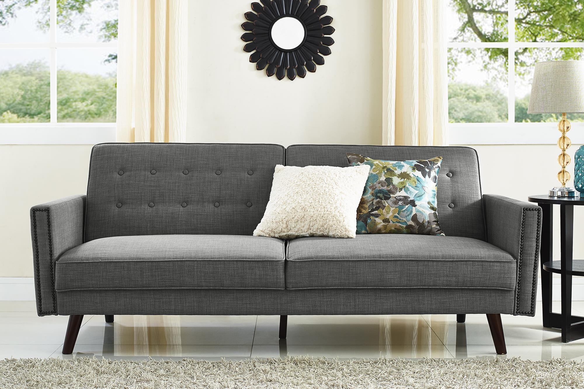 sofa gray color spare bedroom bed ideas better homes and gardens rowan linen futon walmart com