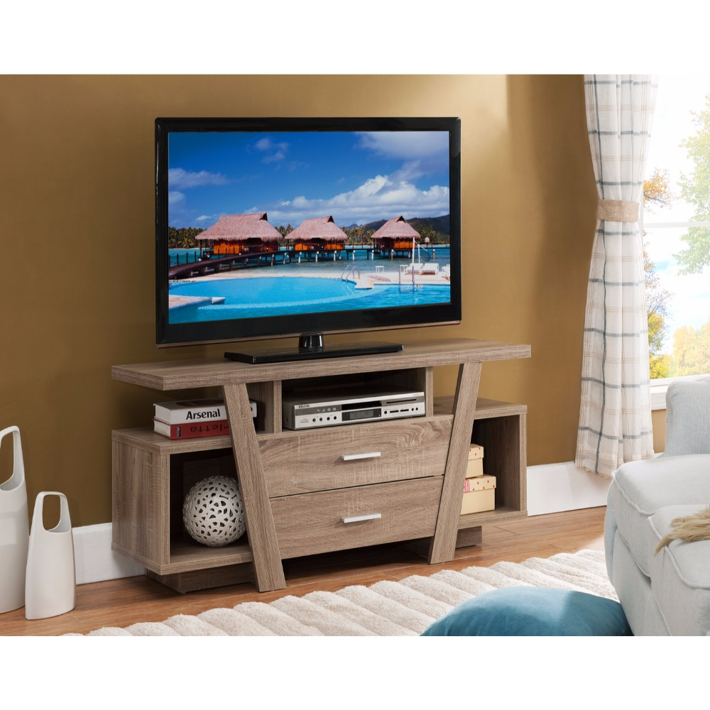 Subtle Wood Tv Stand With Two Shelves Brown Onsales46 Com