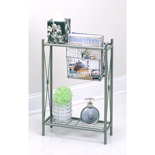 Cross Style Magazine Rack with Shelves Satin Nickel