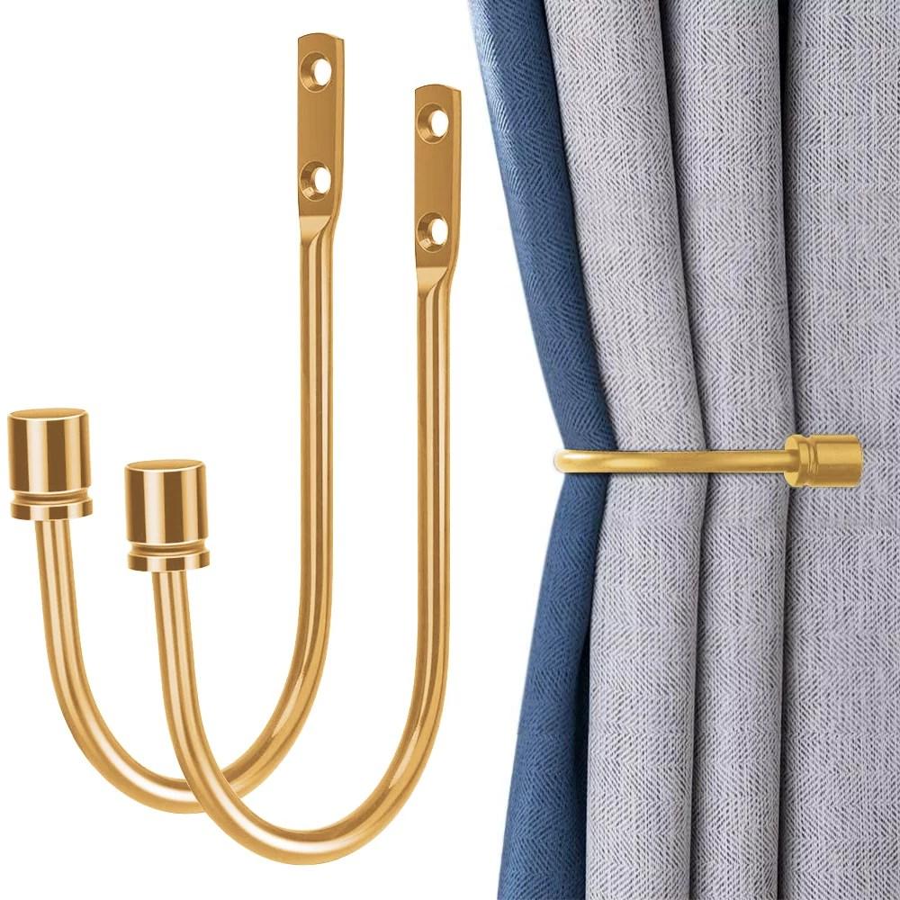 2 pcs metal curtain holdbacks decorative wall mounted drapery tiebacks with screws heavy duty window treatment holdbacks for home decor shiny gold