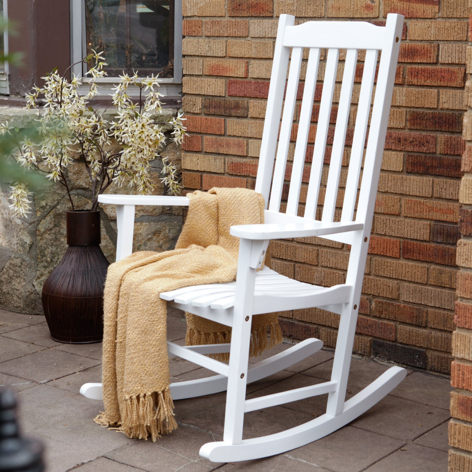 rocking chair white outdoor canvas material for chairs traditional painted walmart com