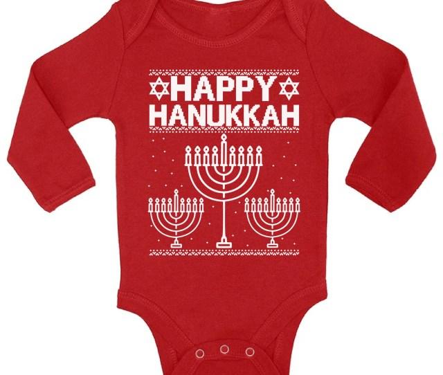 Awkward Styles Happy Hanukkah Christmas Baby Outfit Jewish Menorah Christmas Bodysuit Christmas Baby Boy Christmas Baby