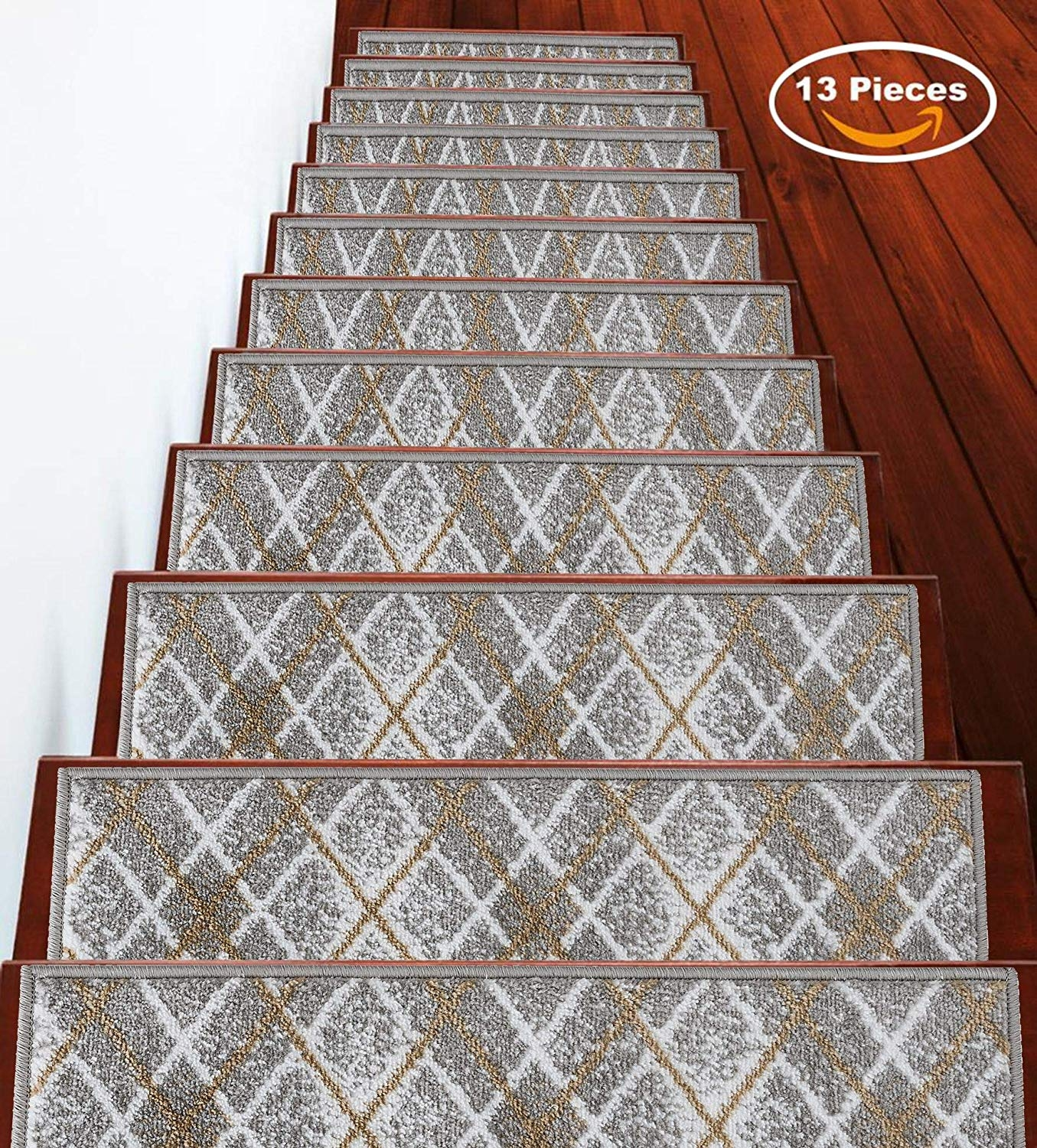 Sussexhome Stairs Slide Carpet Stair Tread Non Slip Stair Treads | Decorative Carpet For Stairs | Rectangular Cord Treads | Gingham | Brown | Animal Print | Stair Runner Matching Landing